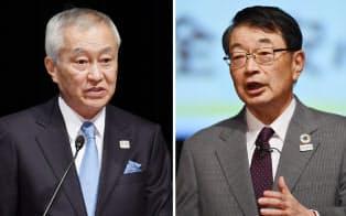 基調講演する三井不動産の菰田正信社長(左)とセコムの中山泰男社長