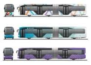 東京都が意見募集するBRTのデザイン案(上からA、B、C)(東京都提供、イメージ)
