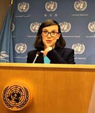 20日、国連本部で会見した女優のミリ-・ボビー・ブラウンさん(ニューヨーク)