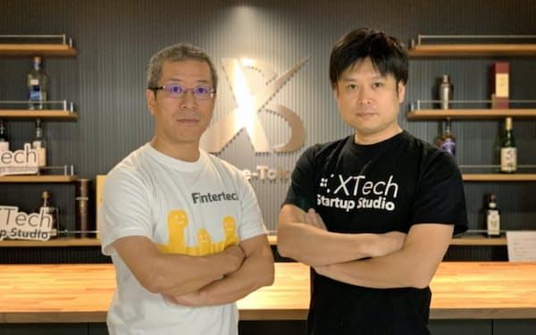 XTechの西條晋一社長(右)とフィンターテックの武田誠社長
