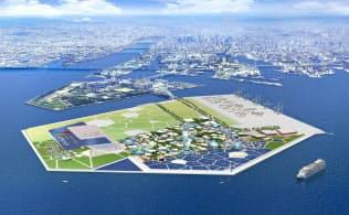 日本は大阪での万博開催をめざしている(開催予定地の夢洲)=経済産業省提供