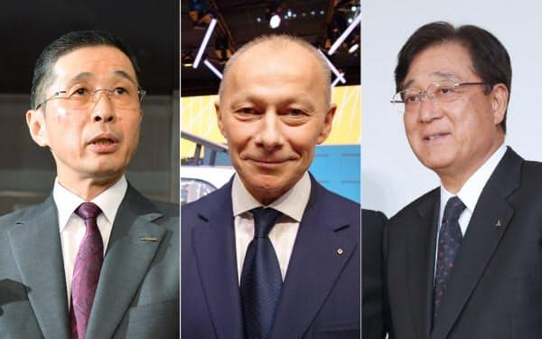 (左から)日産自動車の西川広人社長兼最高行経営責任者(CEO)、仏ルノーのティエリー・ボロレ最高執行責任者(COO)、三菱自動車の益子修最高経営責任者(CEO)