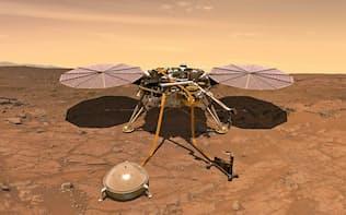 火星に着陸後、観測する無人探査機「インサイト」の想像図=NASA提供・共同