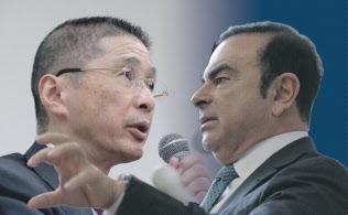 西川社長(左)とゴーン元会長