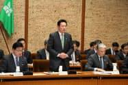 市町長会議であいさつする環境省の秋元司副大臣(26日、宇都宮市)