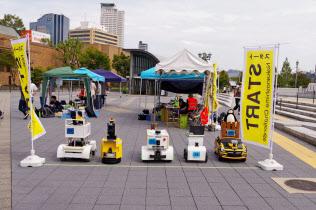 自動走行ロボットの実証実験を実施した(大阪市)