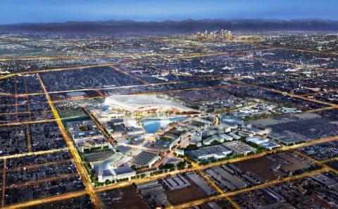 2028年ロサンゼルス五輪では開会式と閉会式の会場になる(ロサンゼルススタジアムの完成予想図)=レジェンズ社提供