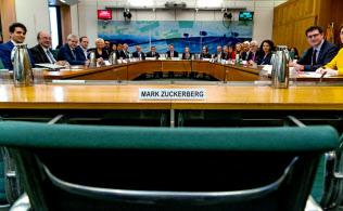 ザッカーバーグ氏の名札が置かれた委員会室の座席(27日、ロンドン)=Gabriel Sainhas氏・英下院提供