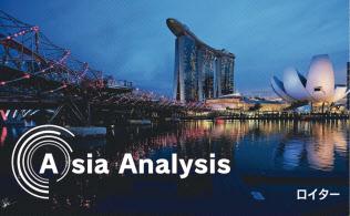 未来都市を思わせる中心部の景観は、シンガポールの繁栄を象徴している=ロイター