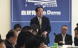 自民税調の会合であいさつする額賀福志郎小委員長(28日、党本部)