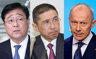(左から)三菱自動車の益子CEO、日産の西川社長、仏ルノーのティエリー・ボロレCOO