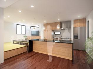 エアビーなどの物件は、島型キッチンを備えた広い部屋で居住者と旅行者の交流を促す(イメージ)