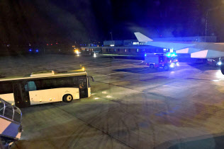 ケルンへの着陸を余儀なくされたドイツの政府専用機=ロイター