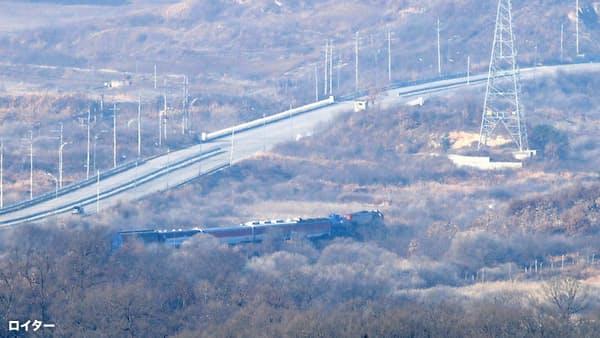 韓国の鉄道列車、北朝鮮入り 南北連結視野に調査