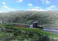 県東部の未利用木材を発電に利用する(発電所の完成予想図)