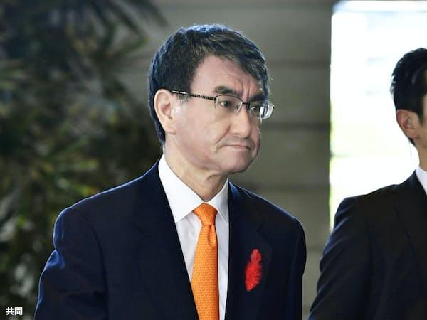 ロシアとの平和条約交渉を進める交渉責任者になった河野太郎外相=共同