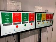 画面には機械の稼働・停止時間の割合や1分あたりの製造数などを表示する