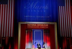 全国共和党下院委員会であいさつするトランプ米大統領=ロイター