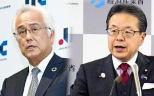 記者会見する世耕経産相(右)と産業革新投資機構の田中正明社長(左)