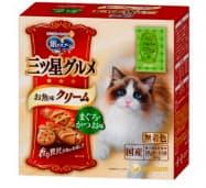 ユニ・チャームが発売する猫用フード「銀のスプーン三ツ星グルメ お魚味クリームまぐろ・かつお味」