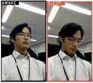 オートマギが開発した居眠り運転を検知するアプリの使用イメージ。目の動きや上半身の姿勢から、AIが居眠りか判断する