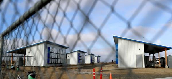 3万平方メートルの敷地に建設中だった大手Giga Watt社のマイニング施設。撮影した翌週に経営破綻した(米ワシントン州ダグラス郡)