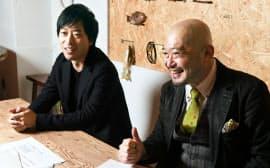 インタビューに答える喜久川氏とアプリクッキングの山下大輔社長(左)
