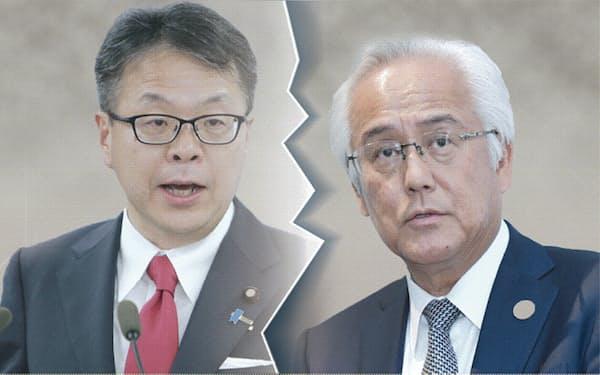 産業革新投資機構の田中社長(右)と世耕経産相