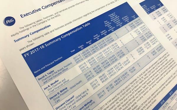 米国ではCEOなど5人の個別報酬を過去3年分開示する(プロクター・アンド・ギャンブルの役員報酬開示書類)