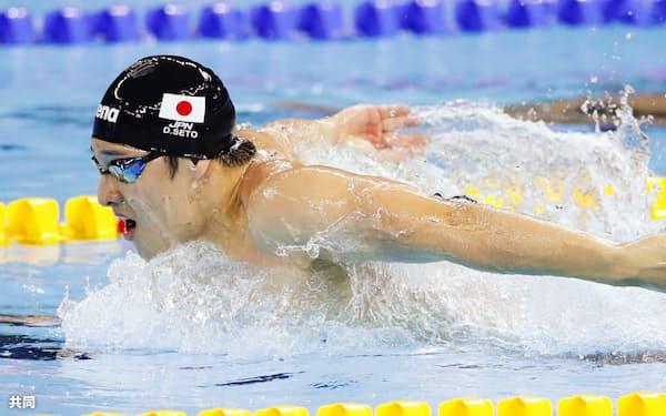 男子200メートルバタフライ決勝 短水路世界新で初優勝した瀬戸大也(11日、中国・杭州)=共同