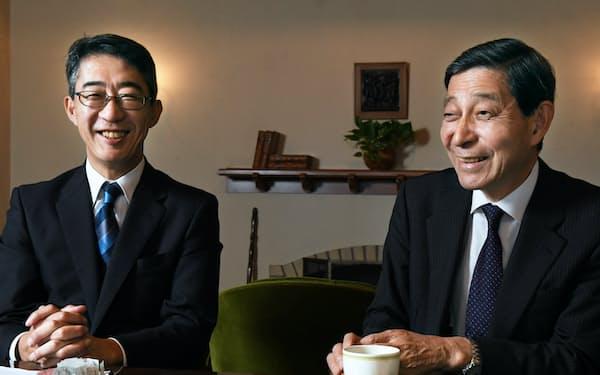元日本債券信用銀行頭取の東郷重興氏(右)と元頭取秘書の菊地唯夫氏