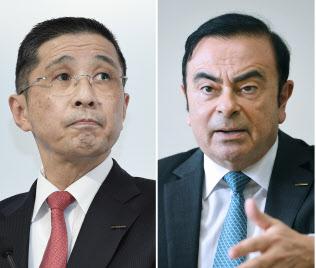 日産自動車の西川広人社長(左)とカルロス・ゴーン元会長