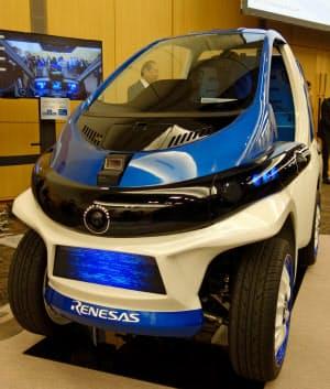 ルネサスの自動運転デモカー。LiDARやカメラの情報をもとに走る