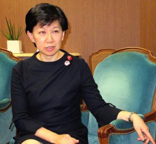 都内でインタビューに応じる国連の中満泉事務次長