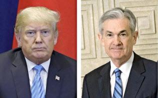 トランプ米大統領(左)とパウエルFRB議長=AP