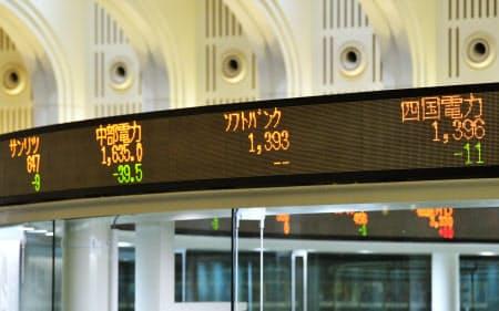 東京証券取引所内に表示されたソフトバンクの株価(19日午前9時15分、東京都中央区)