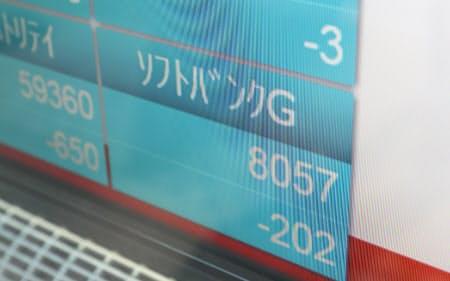 親会社のソフトバンクグループの株も値を下げて取引が進む(19日午前9時27分、東京都中央区)