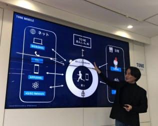 トーンモバイルのAI機能について説明する石田宏樹社長(19日、東京・渋谷)