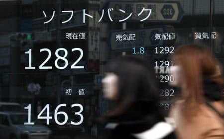 1200円台で取引を終えたソフトバンクの株価(19日午後3時00分、東京都新宿区)