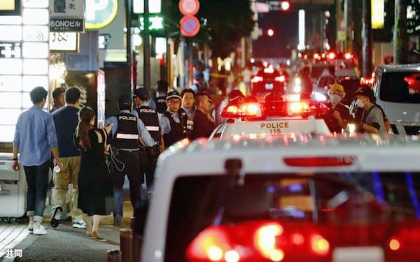 IT講師の男性が刺された現場付近(6月24日、福岡市中央区大名)=共同