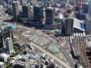 再開発エリア「うめきた2期地区」(中央の空き地)に、なにわ筋線の北梅田(仮称)駅ができる
