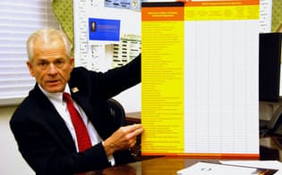 チャートを使って中国の不公正な貿易慣行を指摘するナバロ大統領補佐官(20日、米ホワイトハウス)
