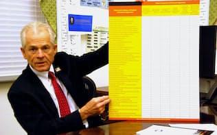 チャートを使って中国の不公正な貿易慣行を指摘するナバロ大統領補佐官(20日、ホワイトハウス)