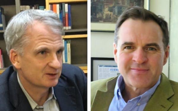 米エール大学ティモシー・スナイダー氏(左)と米スタンフォード大学ニーアル・ファーガソン氏