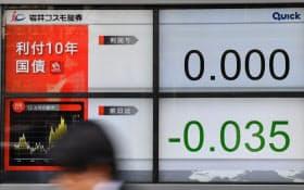 0%を付けた長期金利(25日午後、東京都中央区)