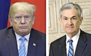 トランプ大統領(左)とパウエルFRB議長(右)の緊張関係も世界株安の背景の一つ(写真右はAP)