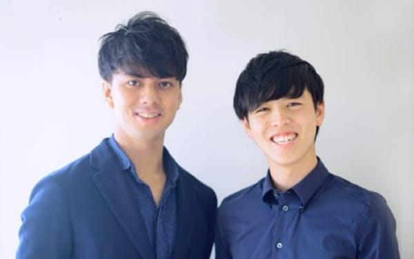 20歳でベンチャーキャピタルの代表パートナーに就任した上杉氏(右)と支援者の笠井氏