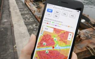 津波の浸水想定などを確認できるアプリ「ハザードチェッカー」(大阪市西区)