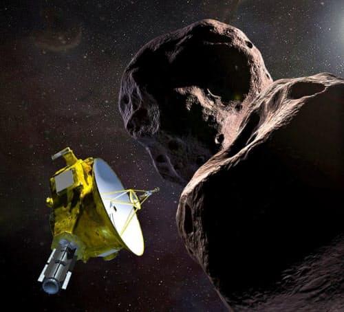 小惑星「ウルティマトゥーレ」(右)と無人探査機「ニューホライズンズ」の想像図=NASA提供・共同