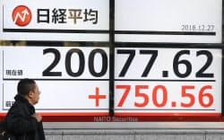 終値で2万円台を回復した日経平均株価(27日午後、東京都中央区)